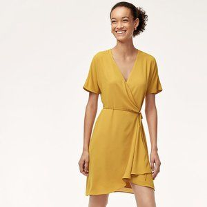 Babaton Short Wallace Wrap Dress Cairo Gold M NWT